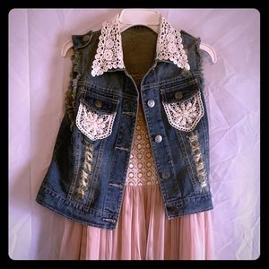 Love: Beautiful Distress Jean Sleeveless Vest